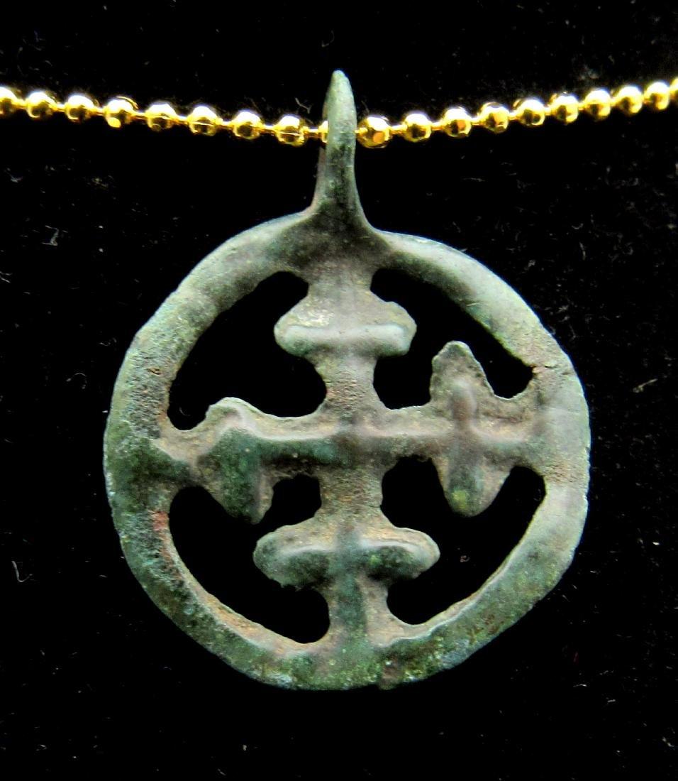 Medieval Crusaders Open-Work Cross Pendant - 2