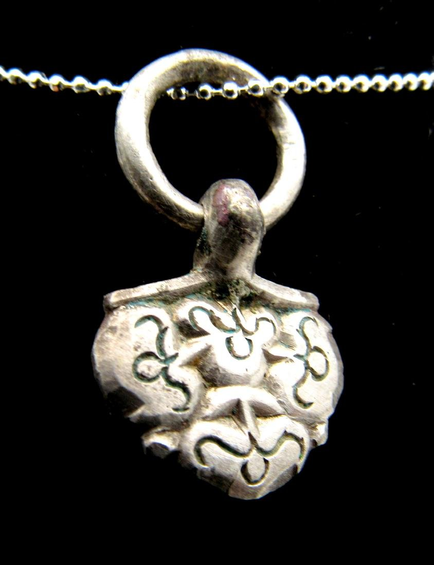 Medieval Viking Silver Floral Pendant with Ring