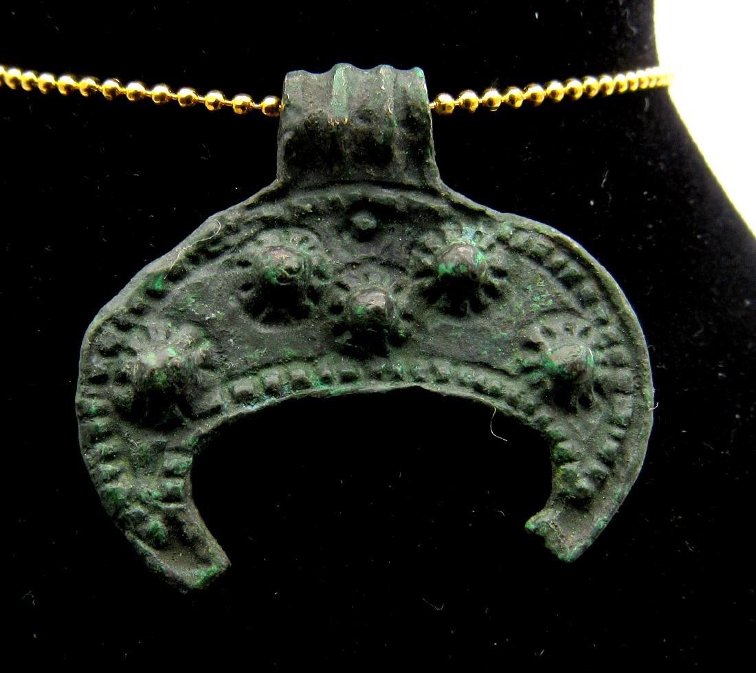 Medieval Viking Bronze Lunar Pendant