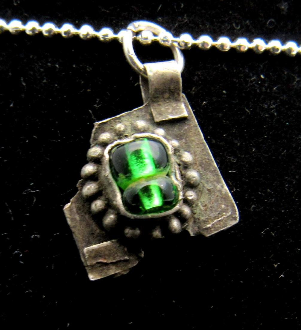 Late Medieval Silver Pendant with Green Glass