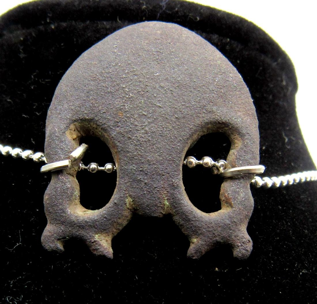 Medieval Bronze Memento Mori Skull Pendant