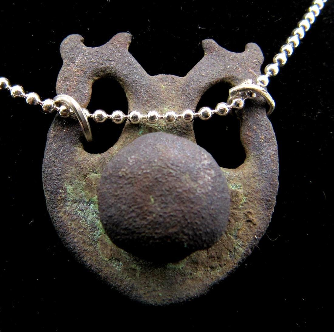 Medieval Bronze Memento Mori Skull Pendant - 2