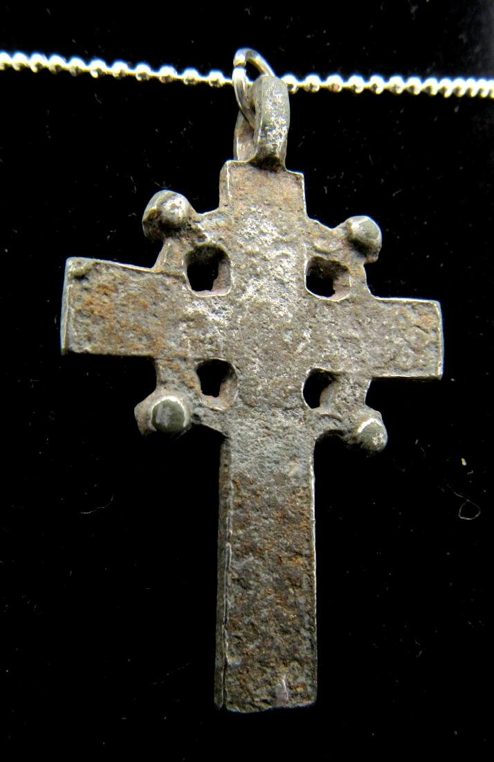 Late Medieval Silvered Bronze Radiate Cross Pendant