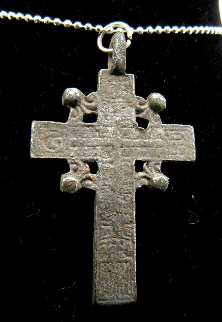 Late Medieval Silvered Bronze Radiate Cross Pendant - 2