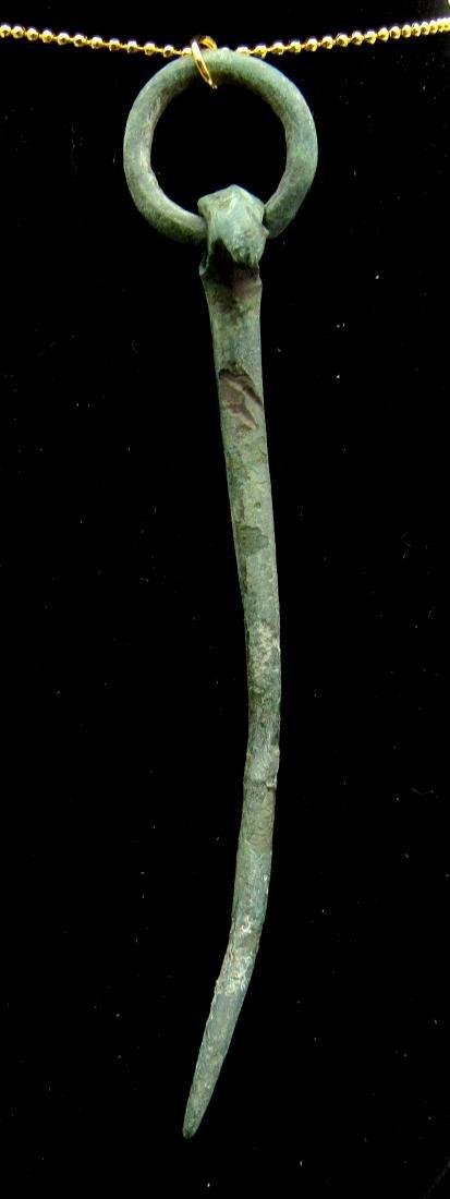 Ancient Roman Bronze Eagle Headed Stylus Pendant