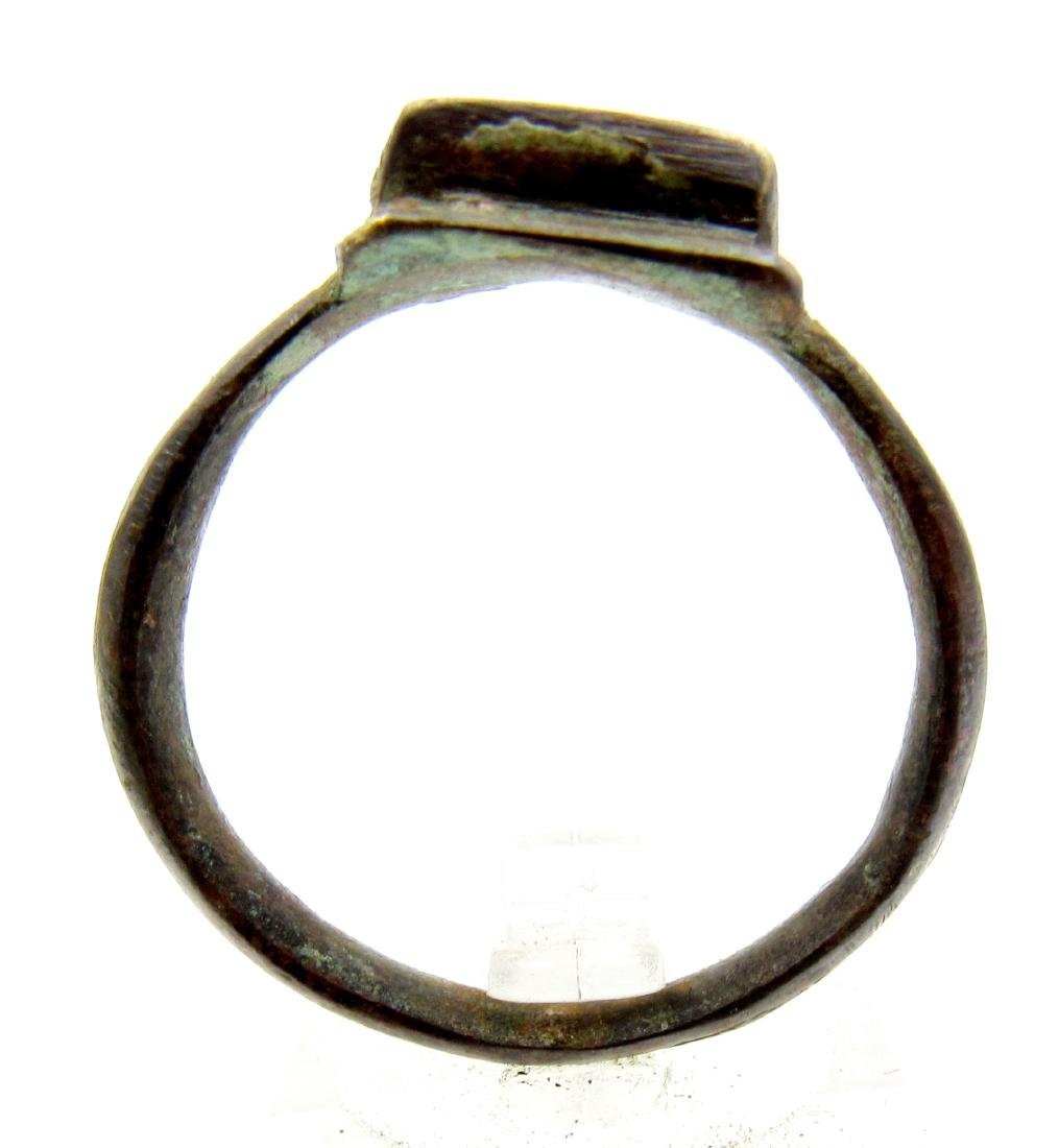 Ancient Roman Bronze Legionary Ring with Square Bezel - 3