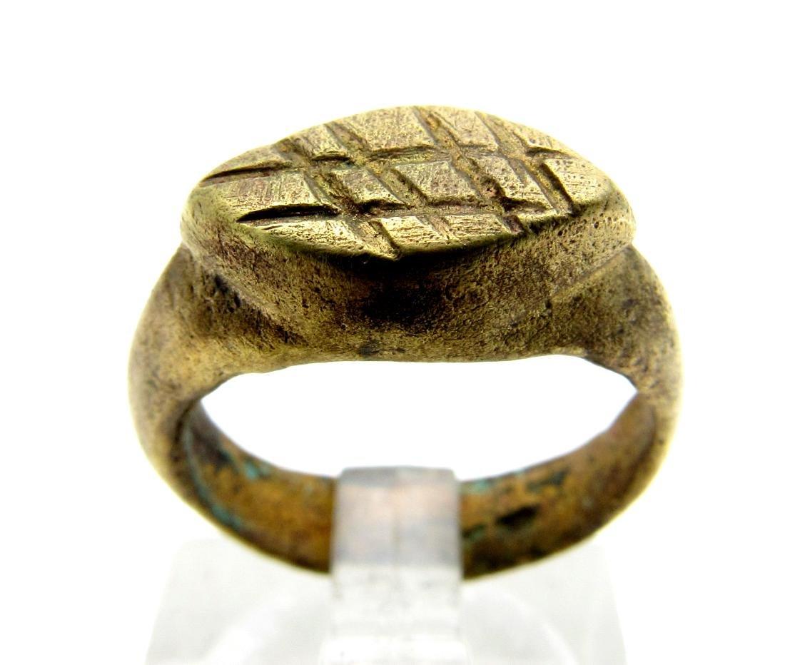 Medieval Bronze Religious Fishermans Net Ring
