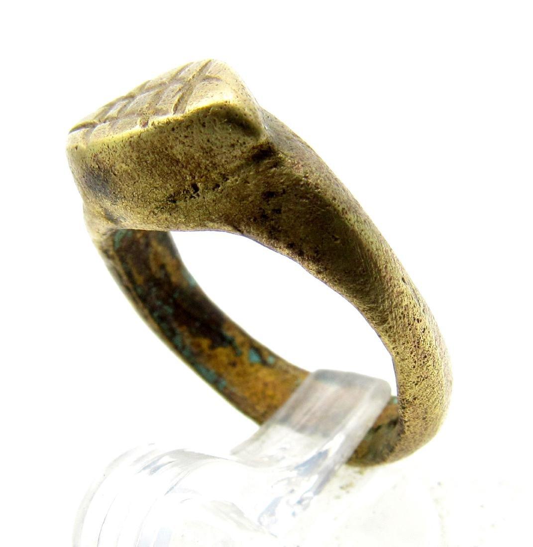 Medieval Bronze Religious Fishermans Net Ring - 2