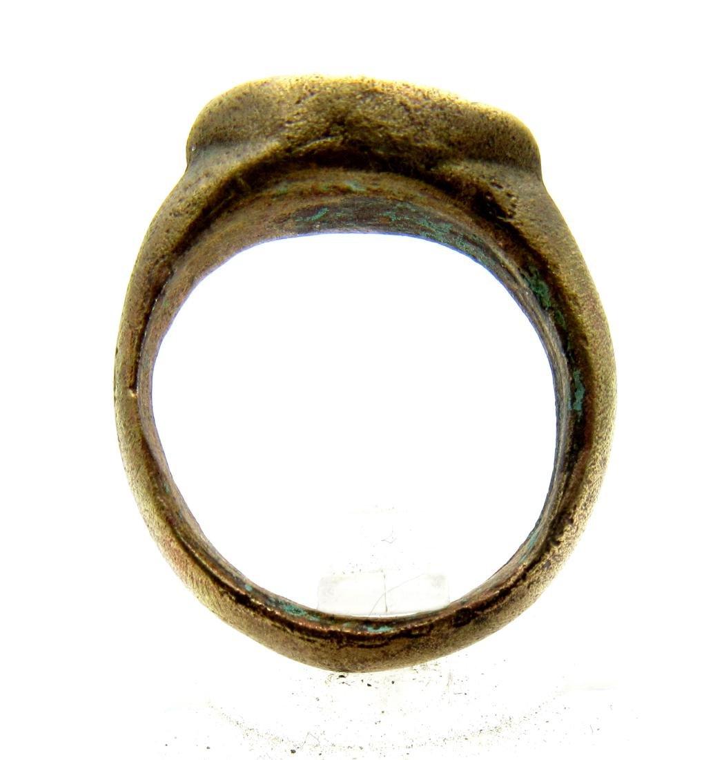Medieval Bronze Religious Fishermans Net Ring - 3