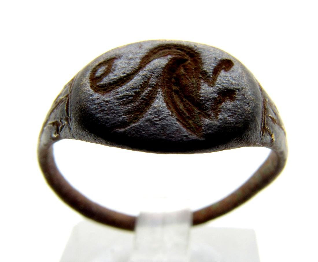 Medieval Viking Bronze Creature Ring