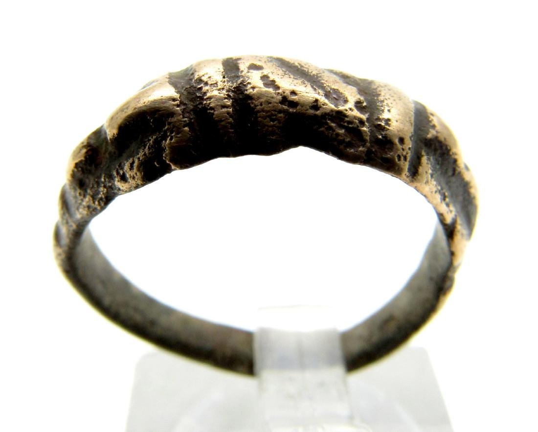 Ancient Roman Bronze Clasped Hands Ring