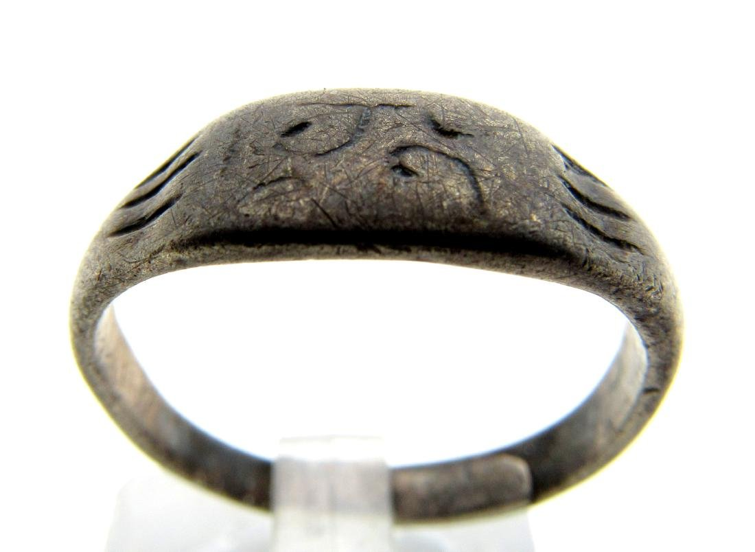 Medieval Viking Silver Runic Ring