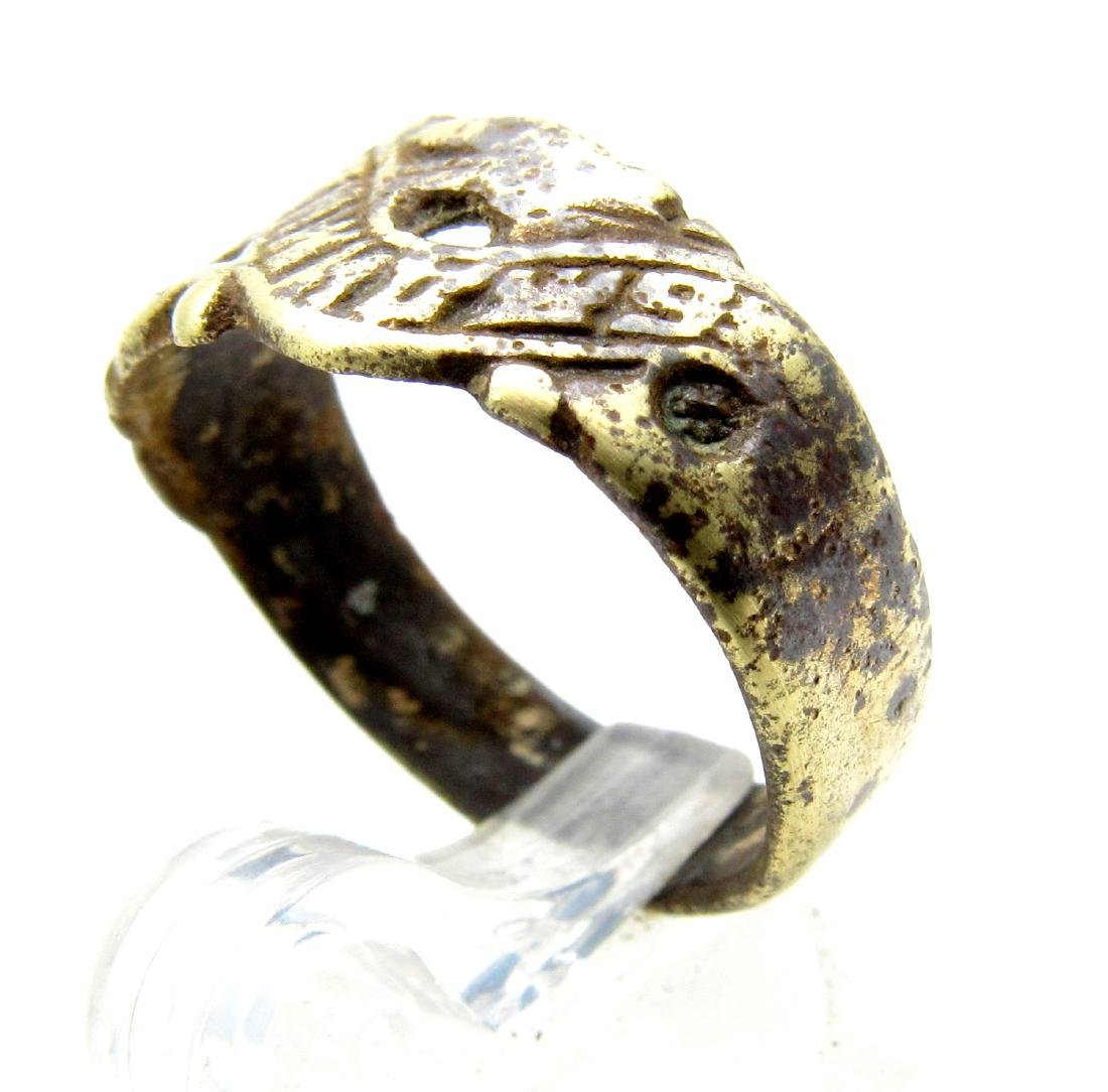 Post Medieval Bronze Be Faithful Ring - 2