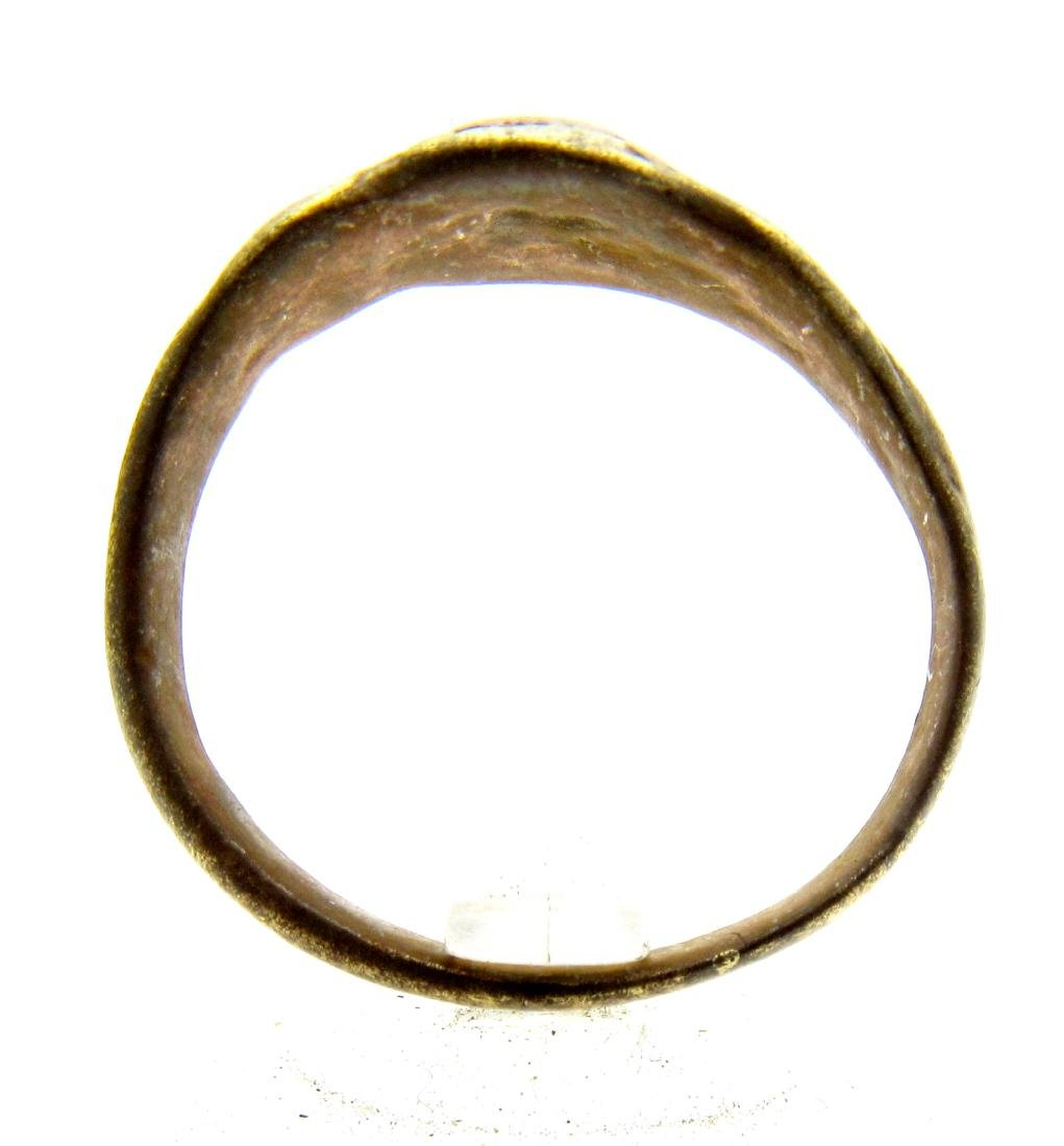 Late Medieval Tudor Bronze Floral Wedding Ring - 3