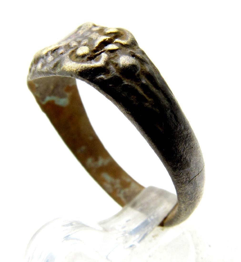 Late Medieval Tudor Bronze Floral Wedding Ring - 2