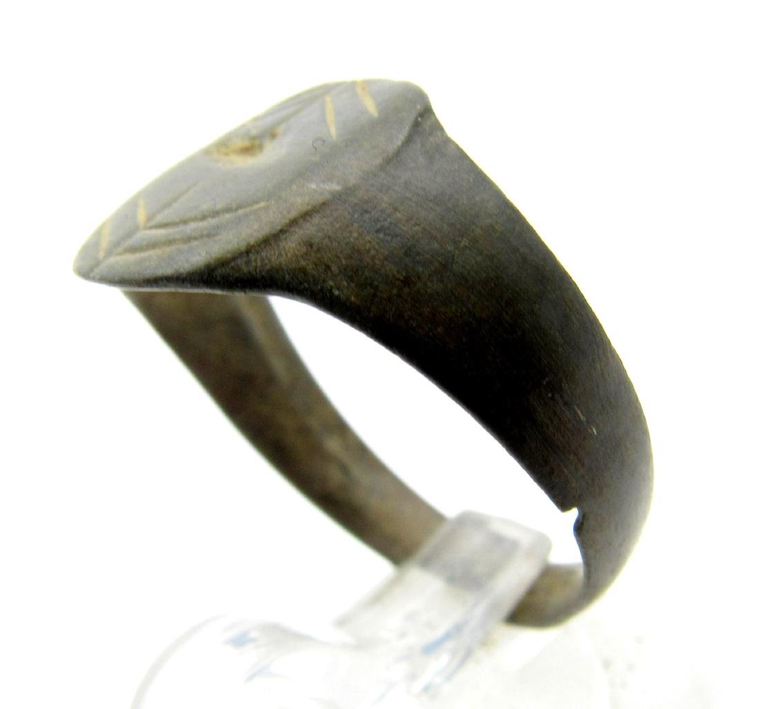 Medieval Viking Bronze Decorated Ring - 2