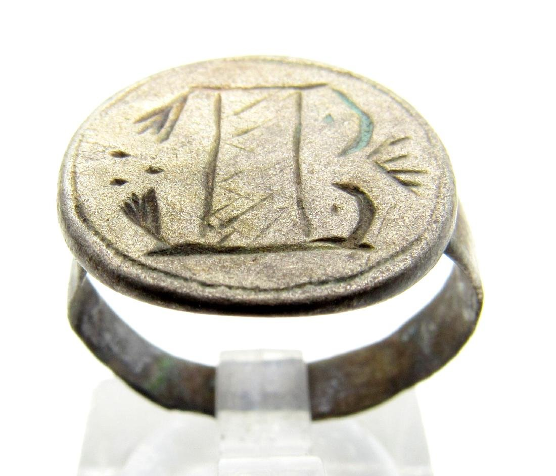 Medieval Silver Decorated Heraldic Ring