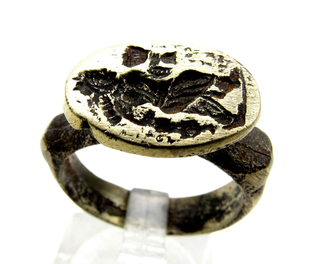 Post Medieval Bronze Ring with Greek Figure Holding Cup