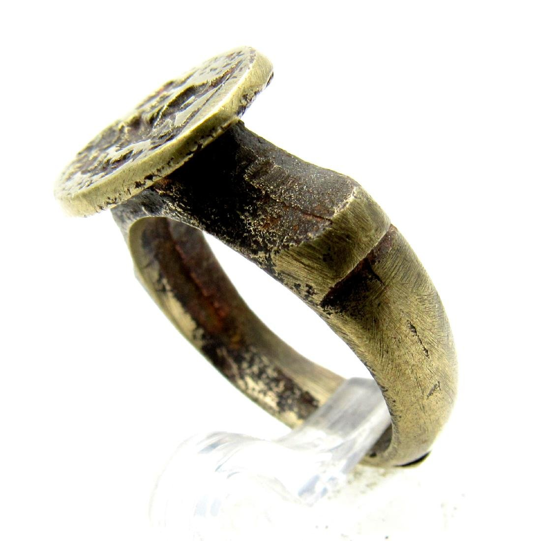 Post Medieval Bronze Ring with Greek Figure Holding Cup - 3