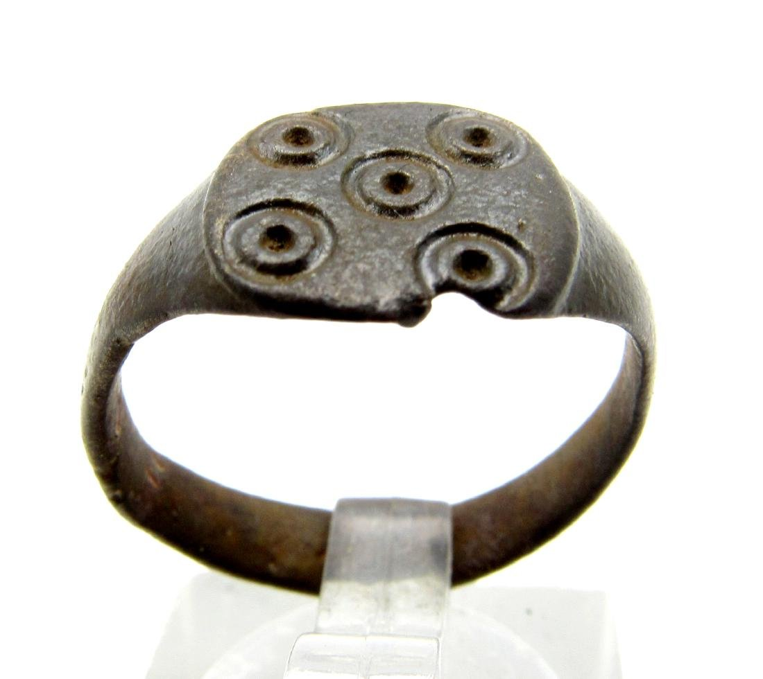 Medieval Saxon Bronze Ring with Evil's Eye Motif