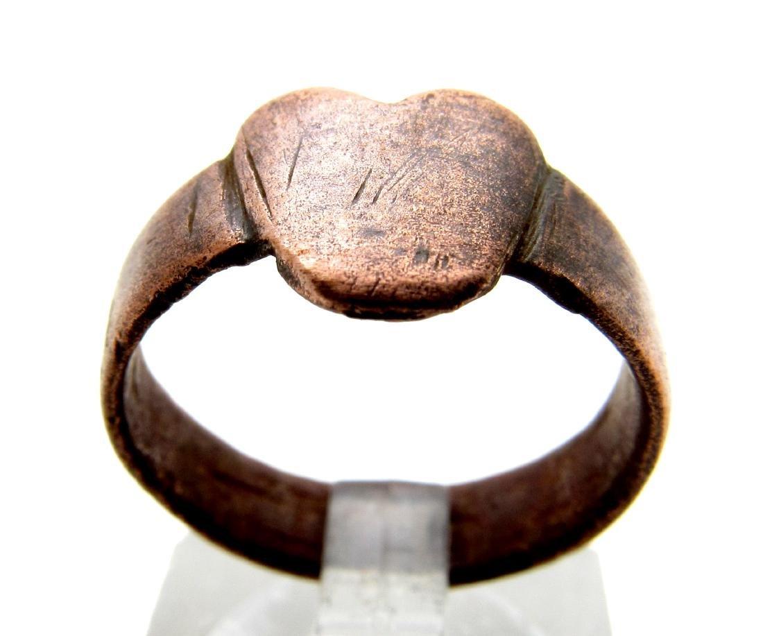 Medieval Renaissance Bronze Heart Shaped Ring