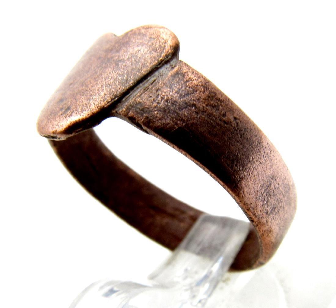 Medieval Renaissance Bronze Heart Shaped Ring - 2