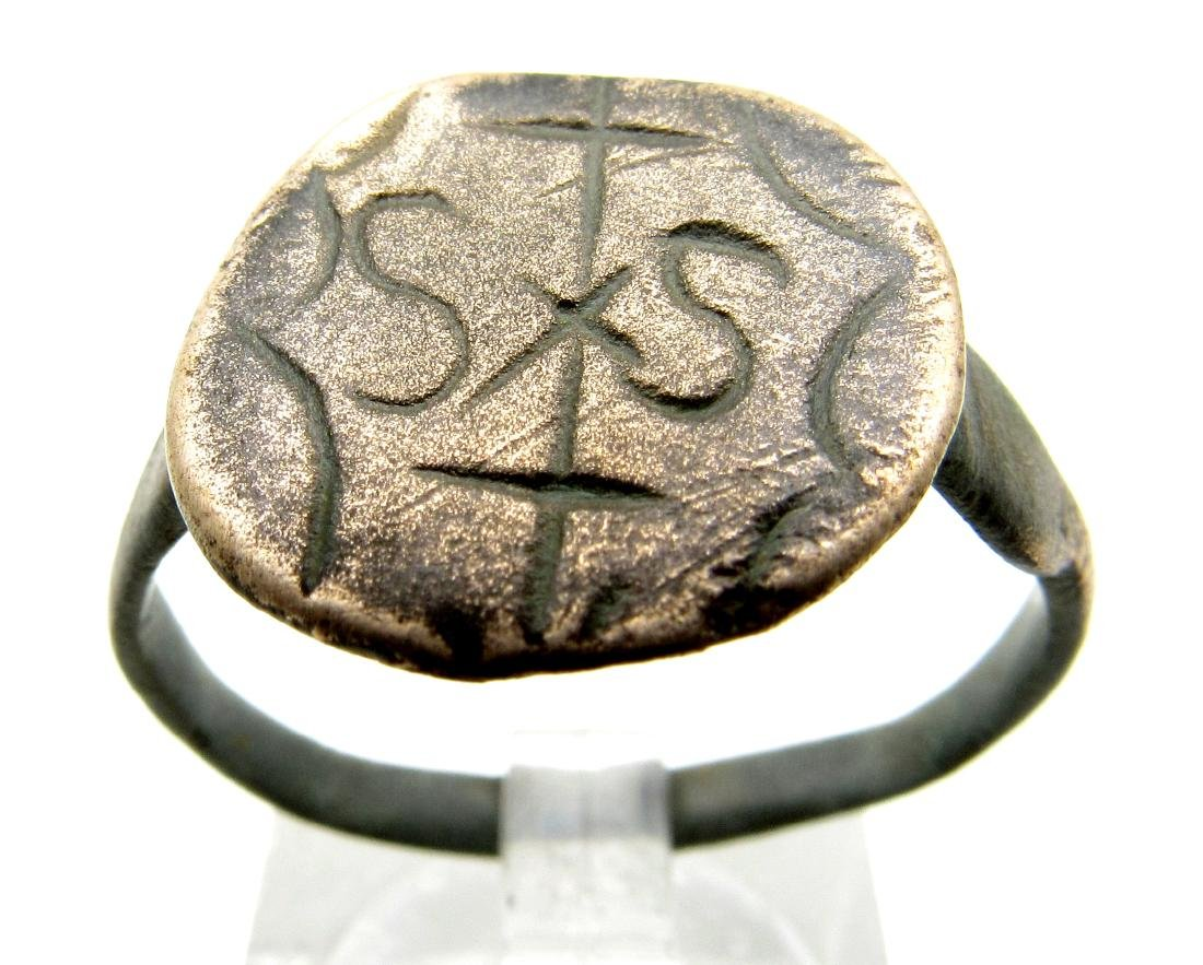Medieval Knights Templar Bronze Heraldic Ring with SIS