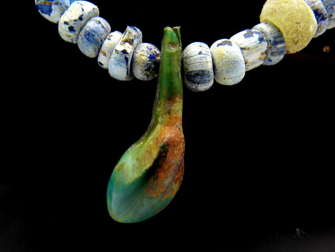 Medieval Viking Amber & Glass Necklace with 42 Beads - 2