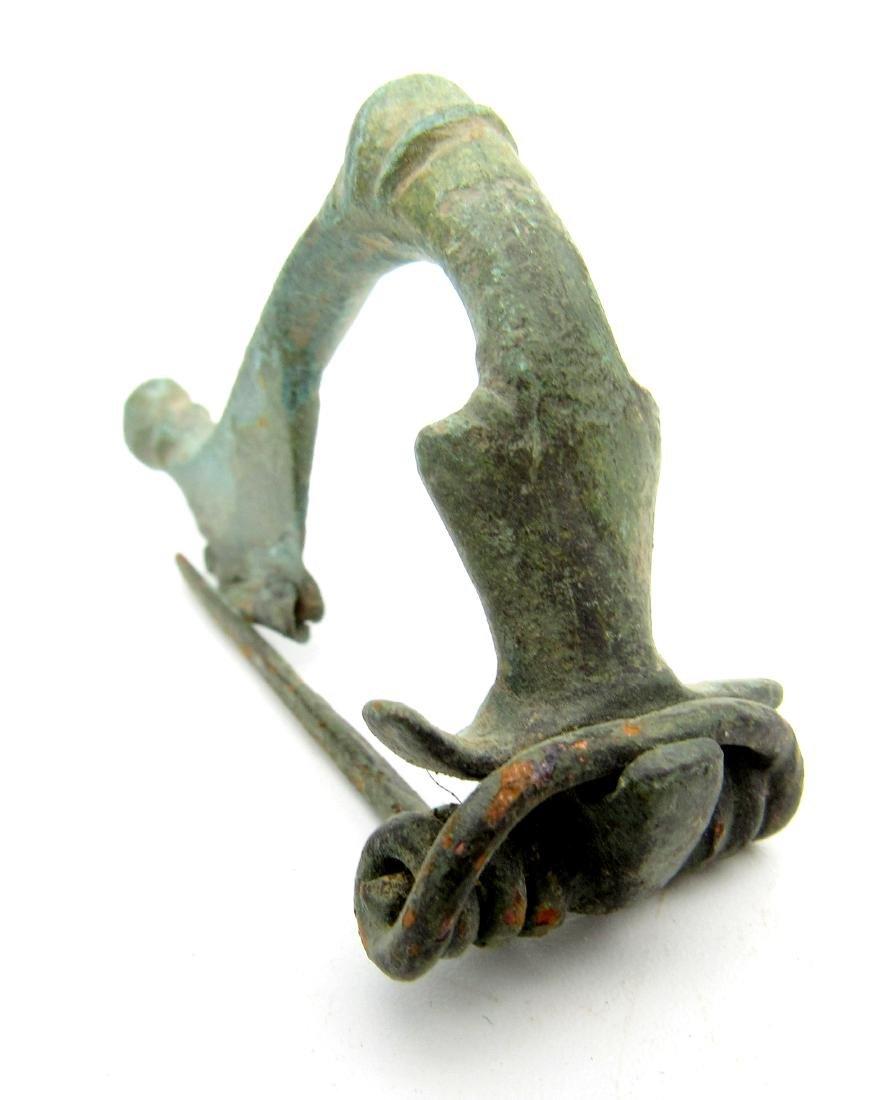 Ancient Roman Bronze Trumpet Bow Brooch