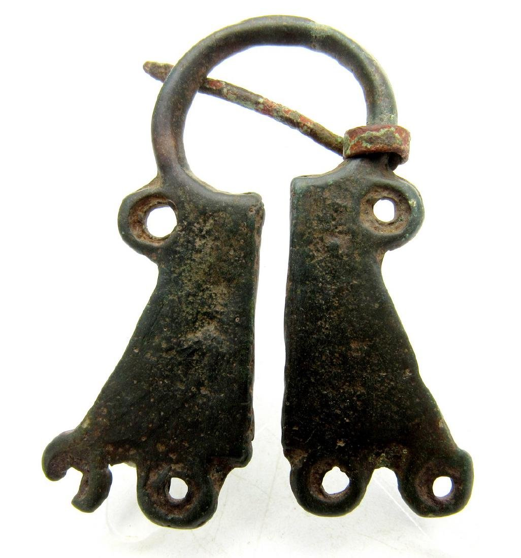 Medieval Viking Bronze Omega Penannular Brooch with - 2