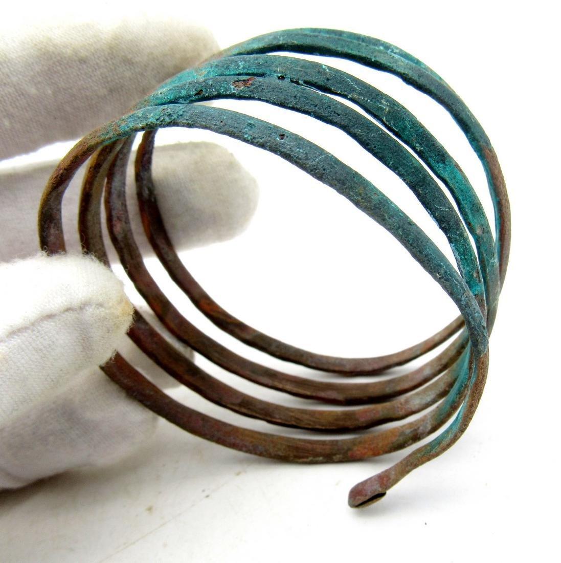 Medieval Viking Bronze Coiled Snake Bracelet