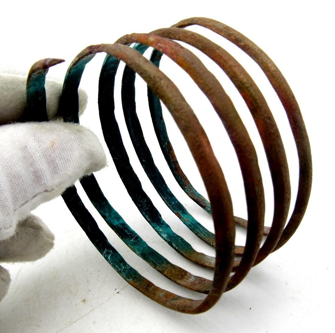 Medieval Viking Bronze Coiled Snake Bracelet - 2