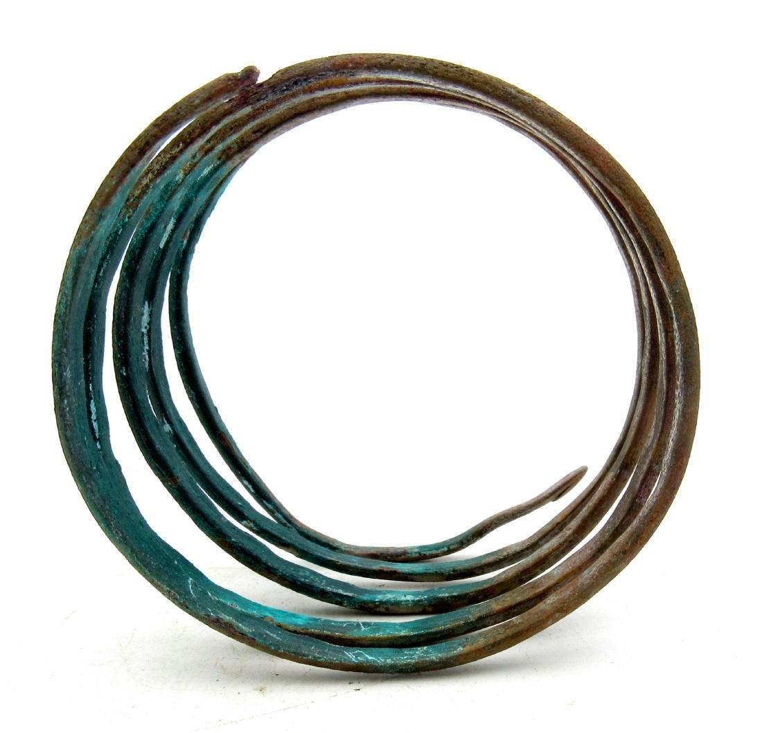 Medieval Viking Bronze Coiled Snake Bracelet - 3