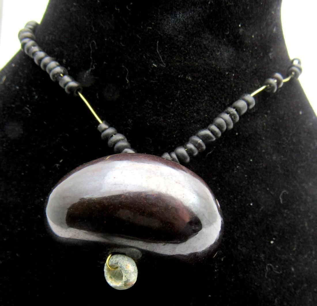 Middle Eastern Tribal Hematite pendant depicting - 3