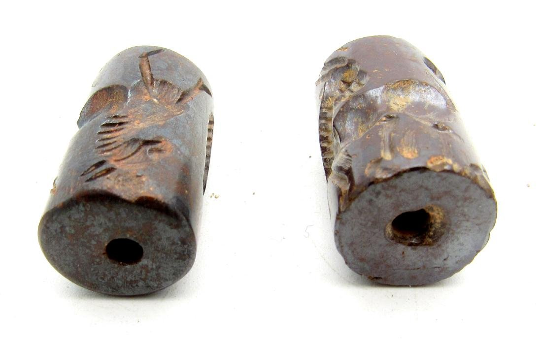 Pair of Middle Eastern Tribal Hematite seals - 2