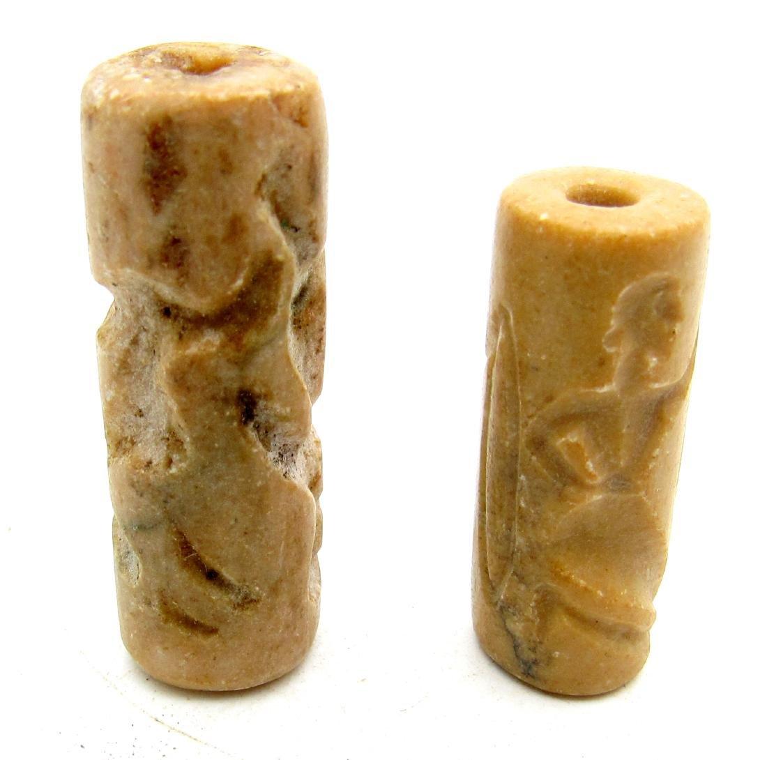 Pair of Sassanian Style Near Eastern Agate Intaglio