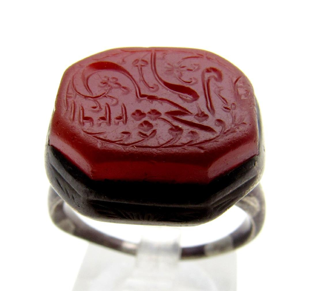 Rare Persian Silver Signet Ring with Carnelian Stone