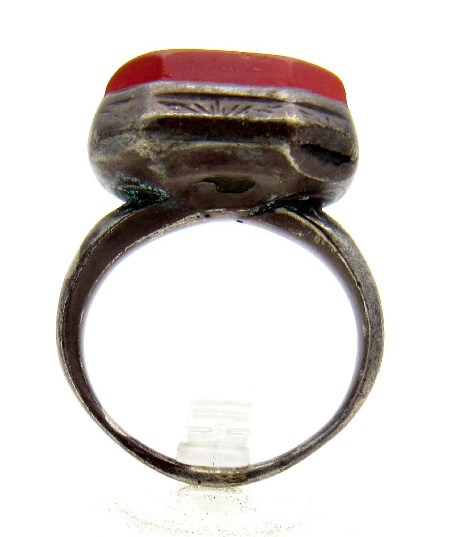 Rare Persian Silver Signet Ring with Carnelian Stone - 3