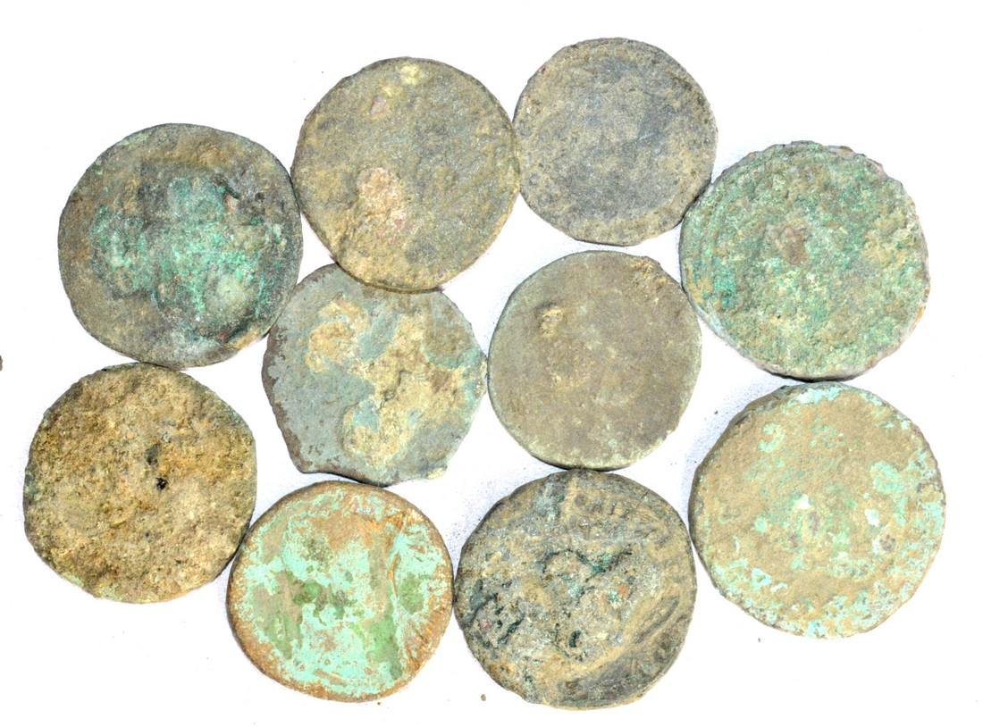 Lot of 10 Large Ancient Roman Coins for Cleaning - 2