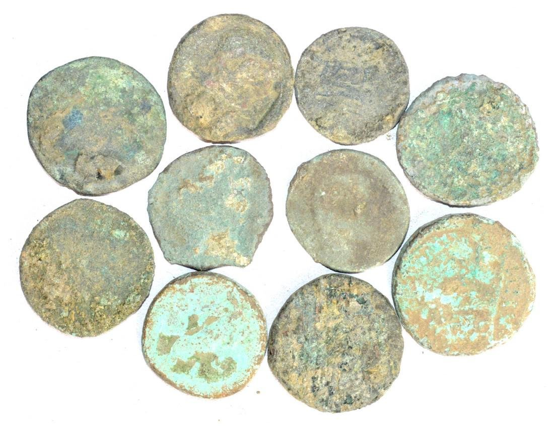 Lot of 10 Large Ancient Roman Coins for Cleaning - 3