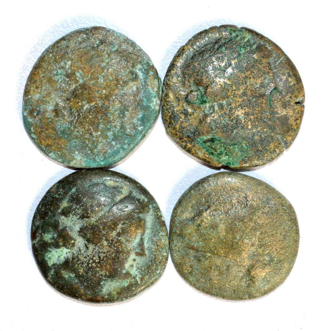 Lot of 4 Ancient Greek Coins for Cleaning