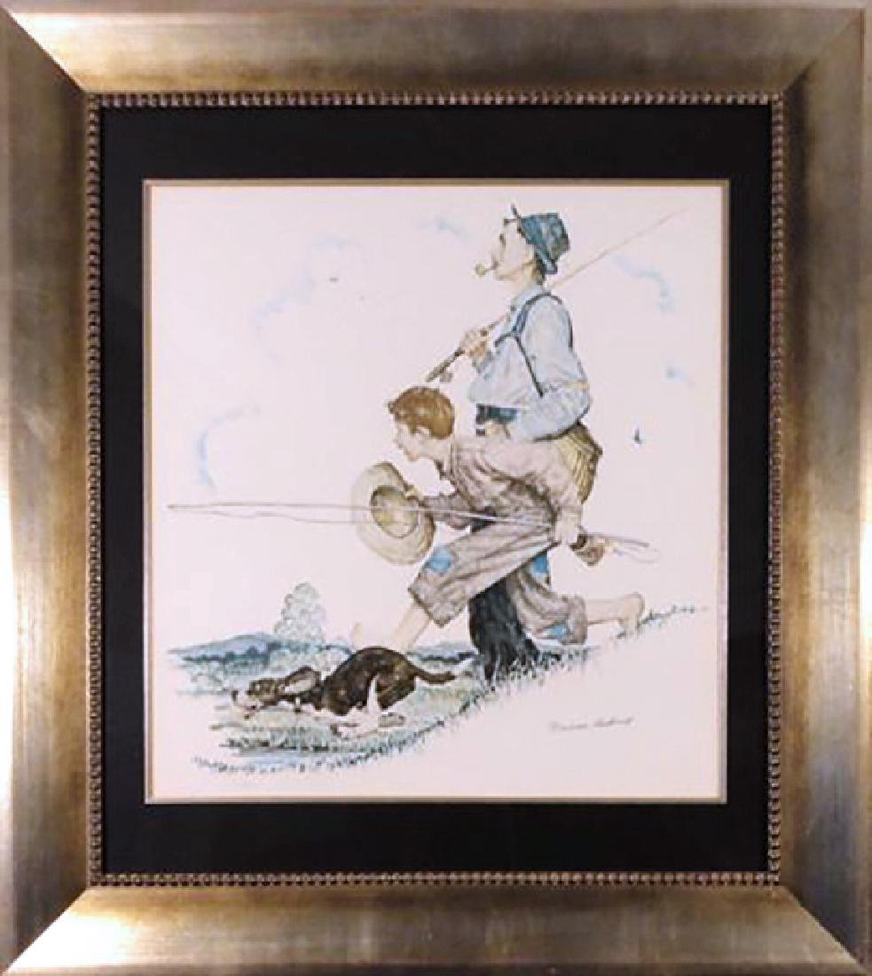 Gramps and Me Go Fishing by Norman Rockwell Lithograph