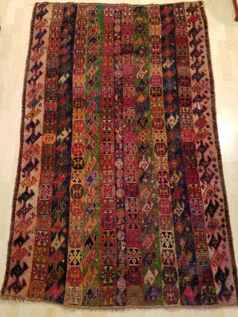 Vintage Hand-Knotted Afghan Nomad Rug 6.5x3.9