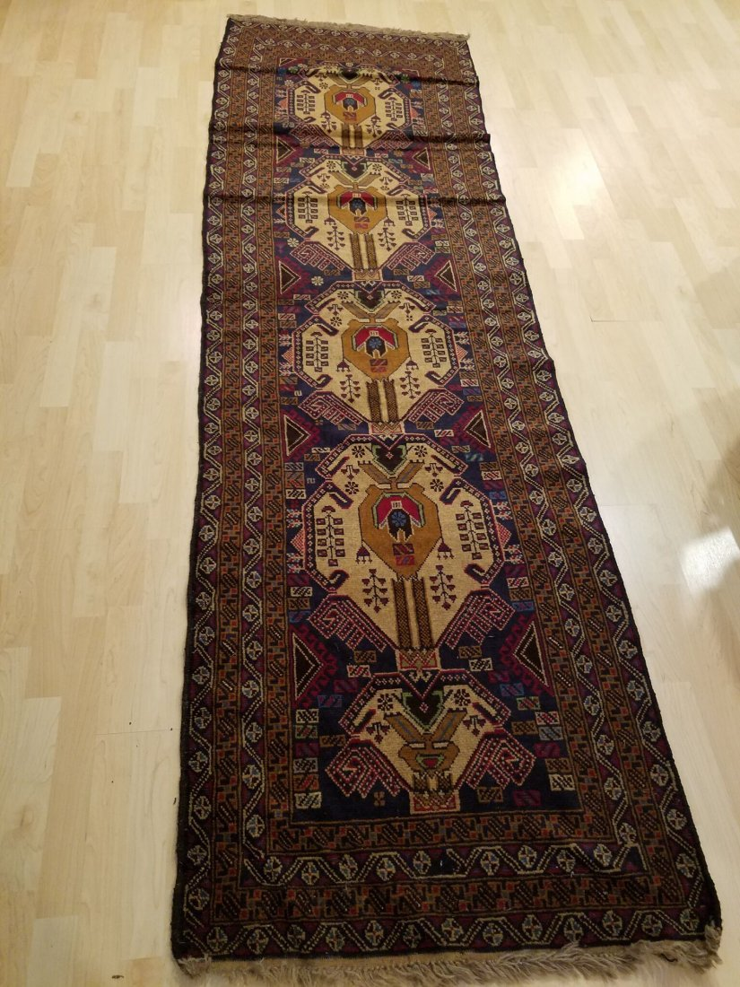 Classic Persian Hand Knotted Tribal Runner Rug 9.1x2.6