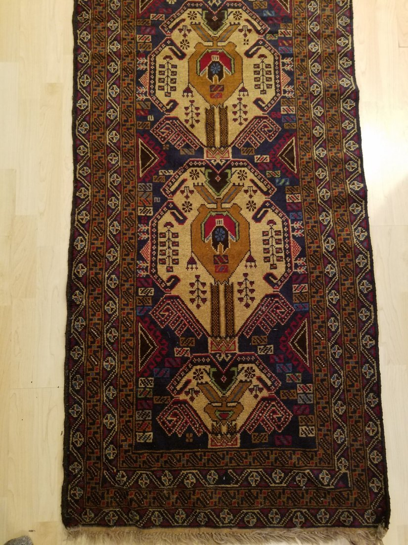 Classic Persian Hand Knotted Tribal Runner Rug 9.1x2.6 - 2