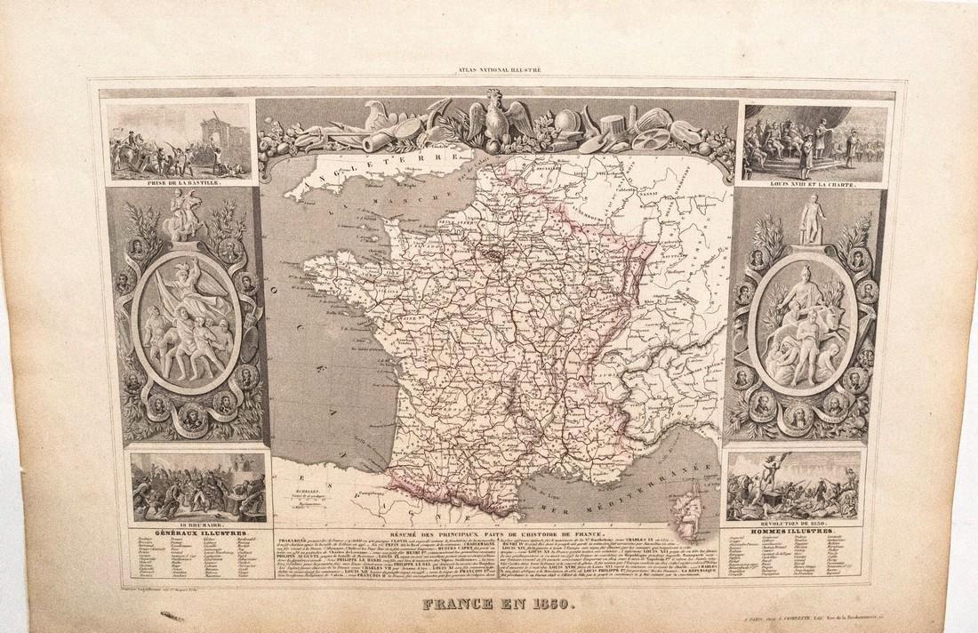 Levasseur: Antique Map of France, 1850