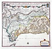 de Fer Antique Map of Grenada  Andalusia Spain 1706