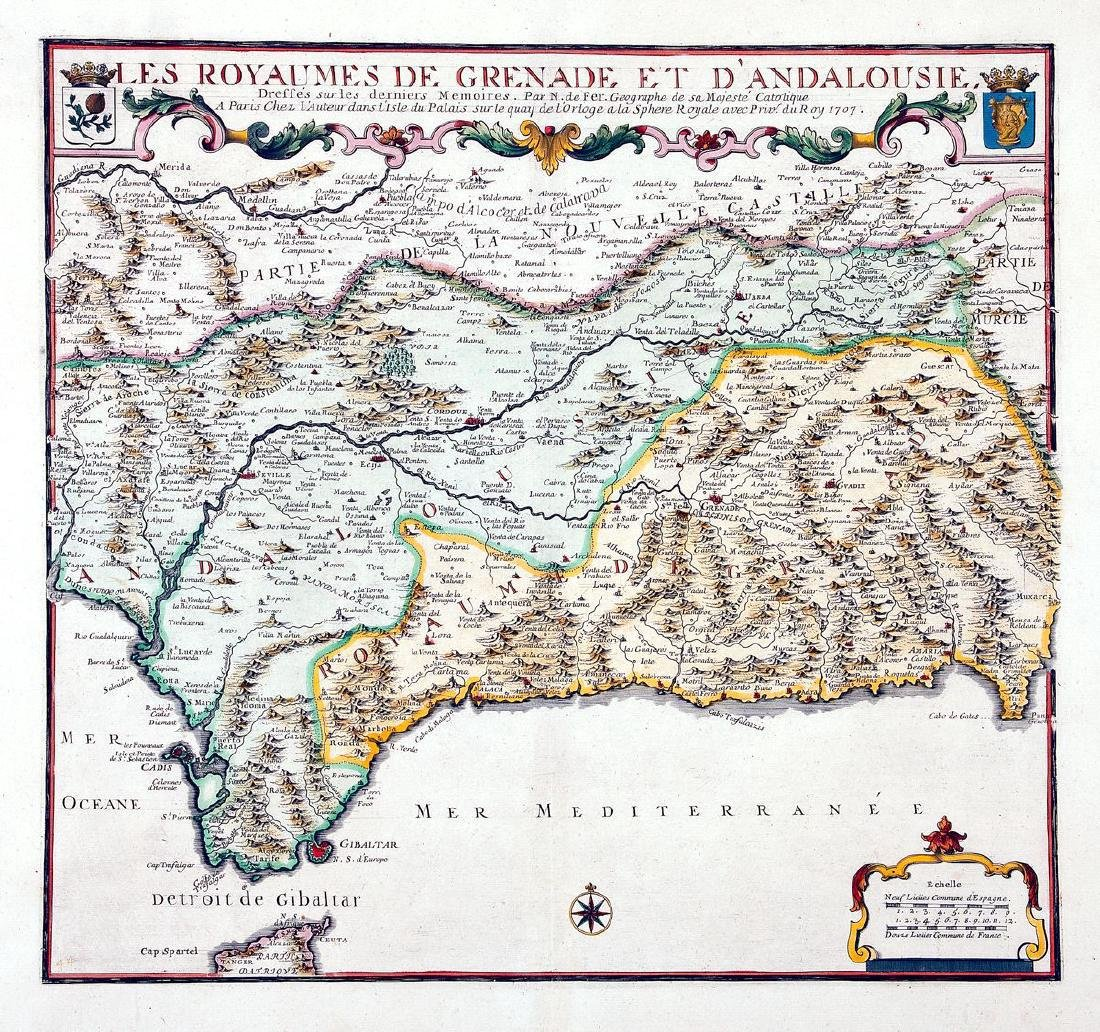 de Fer: Antique Map of Grenada & Andalusia, Spain 1706