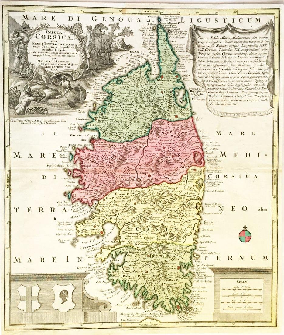 Seutter: Antique Map of Corsica, 1740