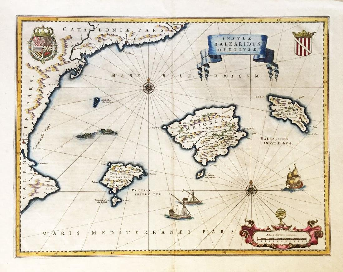 Blaeu: Antique Map of Majorca, Minorca, Ibiza, 1645